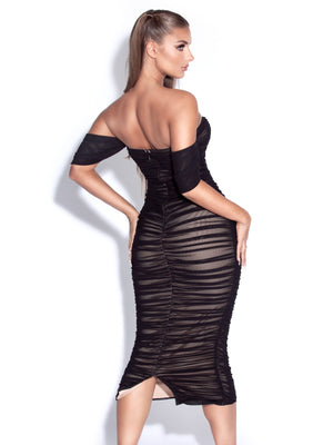 SHARON Black Off Shoulder Mesh Maxi Bodycon Dress