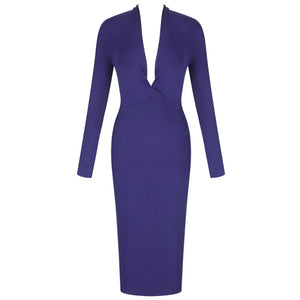 STELLA V Neck Long Sleeve Over Knee Plain  Bandage Dress