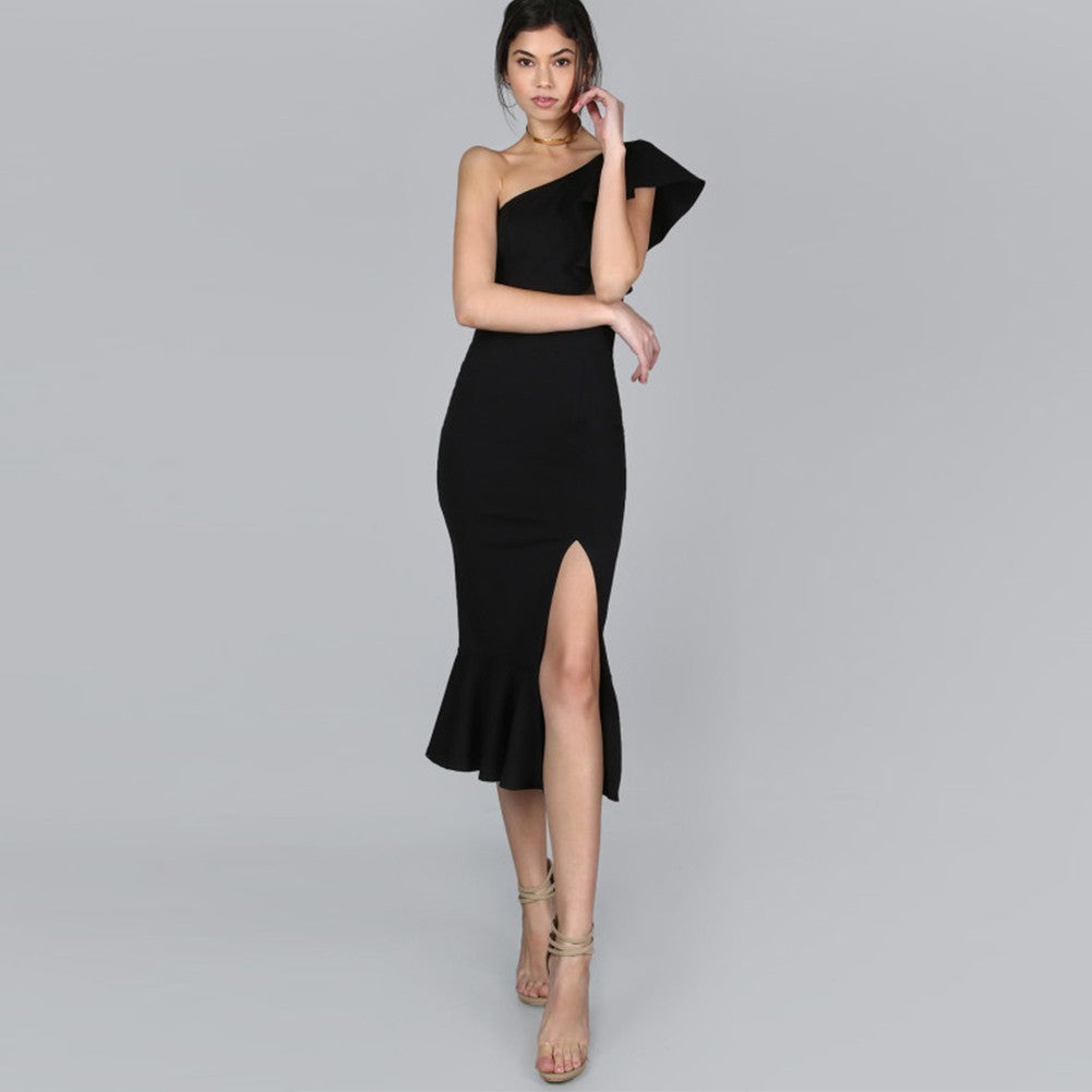SURU One Shoulder Cap Sleeve Over Knee Side Slit  Bandage Dress