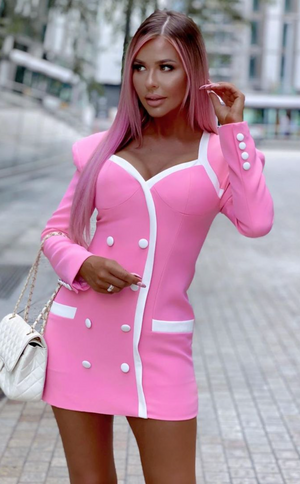SANNY Pink Long Sleeve Bandage Dress