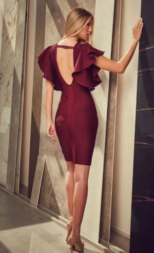 JOSEFINA WINE BACKLESS BANDAGE DRESS