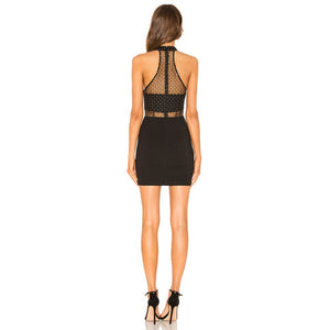 TATIANA Black Strapless Sleeveless Mini Mesh Frill Bodycon Dress