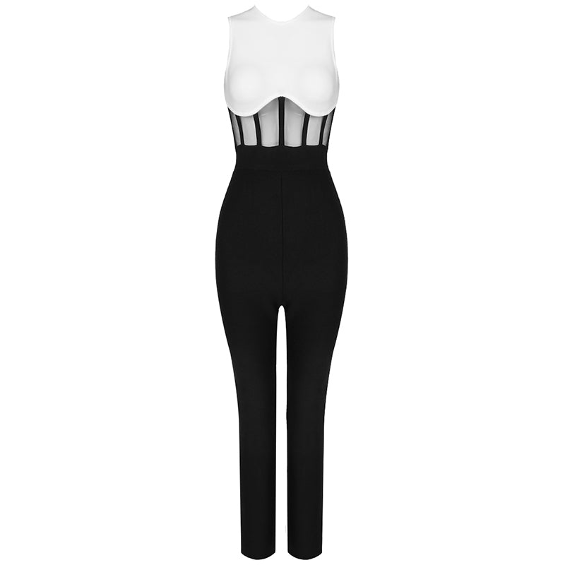 THEO White and Black Bandage Jumpsuit