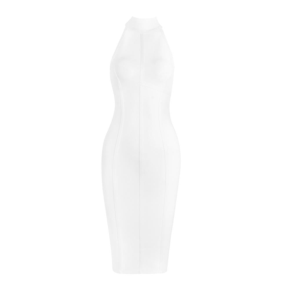 VALERIA White Round Neck Long Sleeve Over Knee Mesh  Bandage Dress