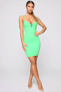 VICKI V Neck Bandage Dress