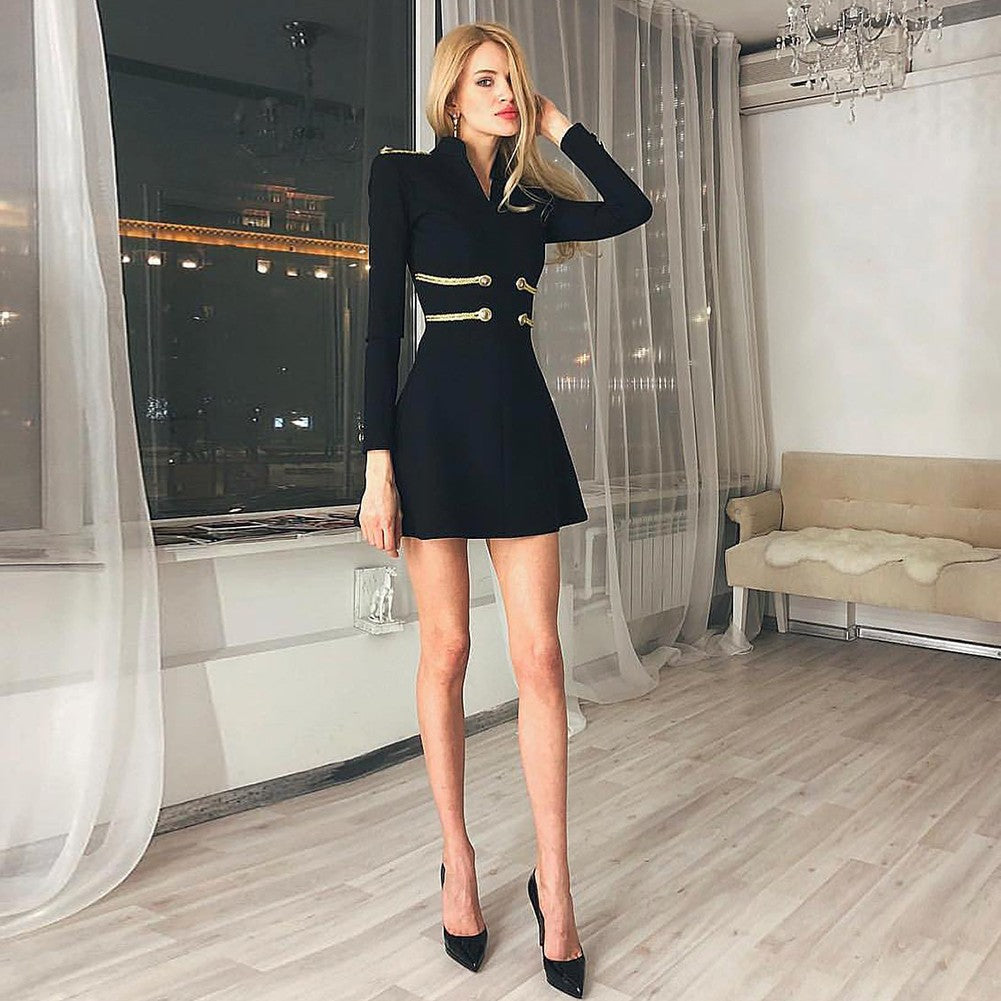 ZURI Long Sleeve Mini Metal Studded Fashion Bandage Dress