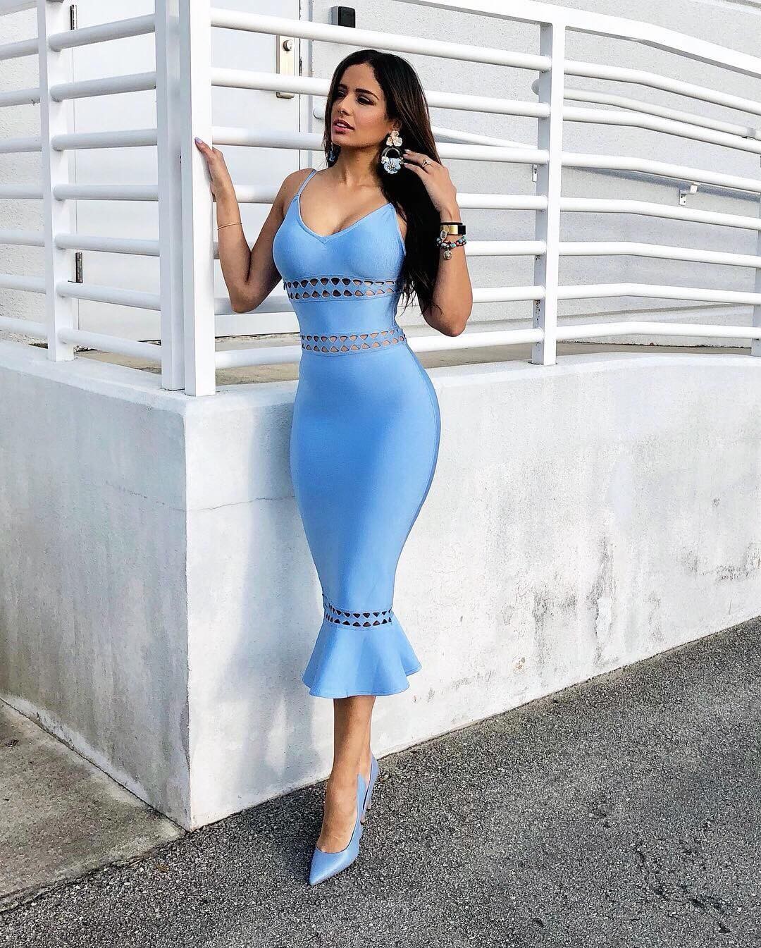 Cailin Blue Strapy Sleeveless Over Knee Mermaid Bandage Dress