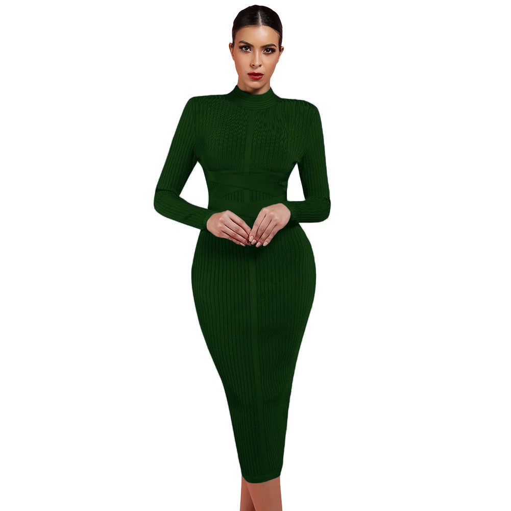 BELISA Round Neck Long Sleeve Knee Length Ribbed Lace Up Bandage Dress
