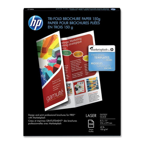 "HP HP Laser Tri-fold Brochure FSC Paper 150g Glossy 40# 97 Bright (8.5"" x 11"") (A) (Two Sided) (150 Sheets/Pkg)"