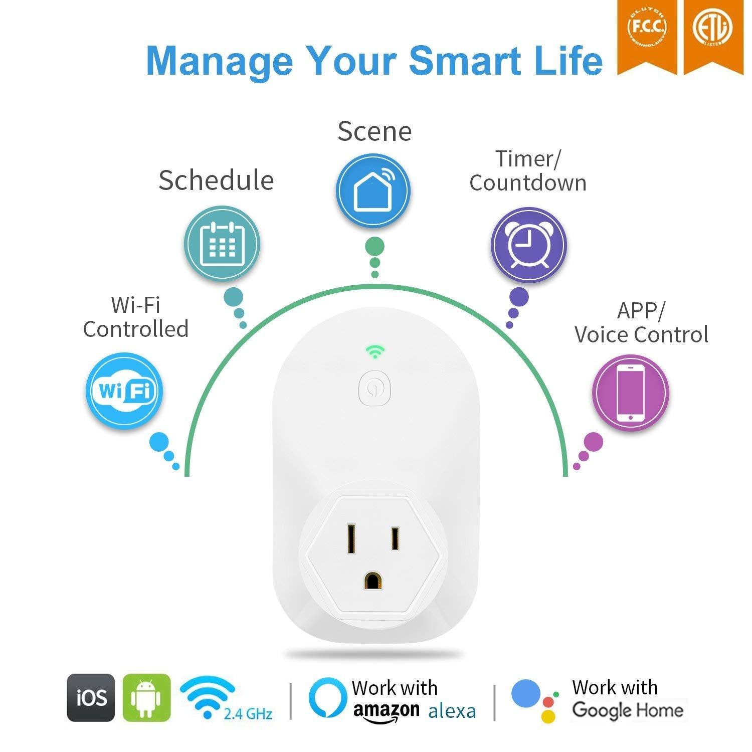 2 Pack Wifi Smart Plug Outlet, Works with Google Assistant & Amazon Alexa  Echo, Control Your Devices from Anywhere, No Hub Required