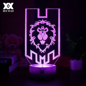 World of Warcraft LED 3D Lamp Horde or Alliance