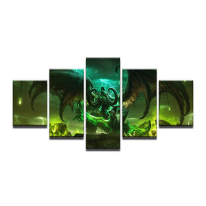 World Of Warcraft 5 Pieces Frame Canvas Painting - Illidan