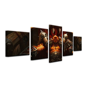World Of Warcraft 5 Pieces Frame Canvas Painting - Hellscream