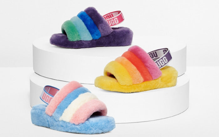 Fluffy Slide Striped Ugg
