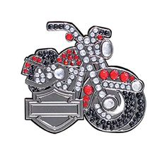 Harley-Davidson pin bling motocycle, antique nickel finish 3D die cast