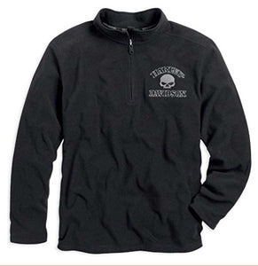 Harley-Davidson 1/4 zip, perf, black men's
