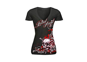 Lethal Angel tee women's floral skull black