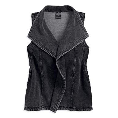 Harley-Davidson look knit biker vest women's black