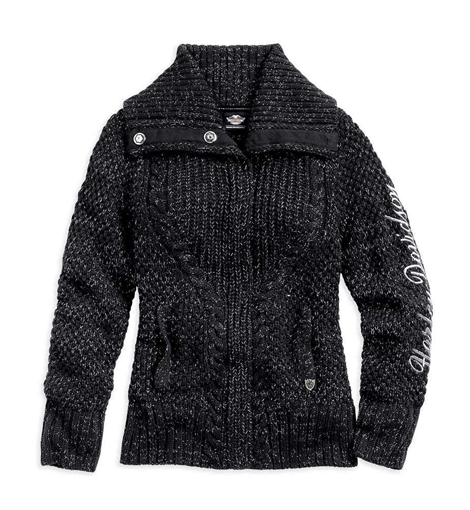 Harley-Davidson sweater-shawl collar women's black