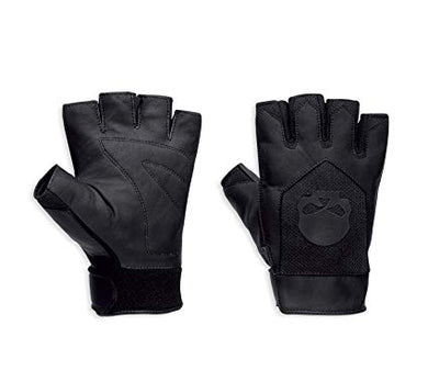 Harley-Davidson layton leather/mesh fingerless gloves men's black