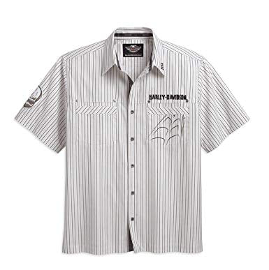 Harley-Davidson S/S striped woven shirt 2QA men's white striped