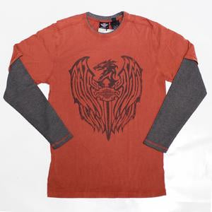 Harley-Davidson tee-L/S, eagle and dagger, men's fired brick
