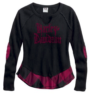 Harley-Davidson top-henley, mixed media women's black