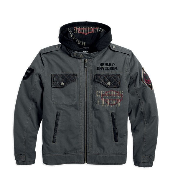 Harley-Davidson jacket-3 en 1, waxed canvas men's black