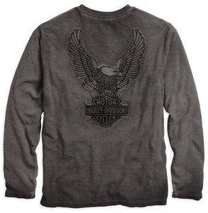 Harley-Davidson henley, L/S, thermal wing grey charcoal men's