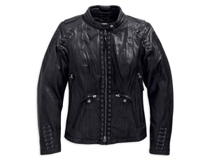 Harley-Davidson jacket-leather, destitute tri vent women's black