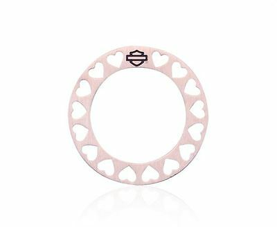 HARLEY-DAVIDSON PINK ROUND BORDER HEART PLATE (ROSE GOLD COLOR)
