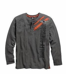 Harley-Davidson knit-L/S, henley grey men's