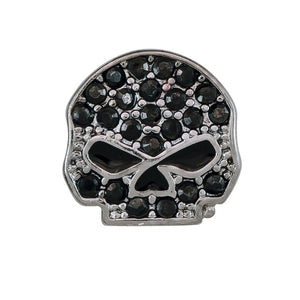HARLEY-DAVIDSON BLACK BLING WILLIE G SKULL LOCKET CHARM