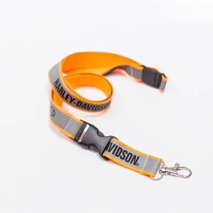 Harley-Davidson lanyard h_d name safety orange reflective with breakaway clasp