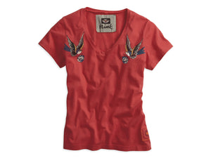 Harley-Davidson lucky star tattoo v-neck tee women's chrysanthenum