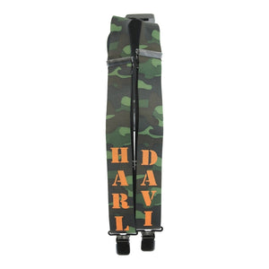 Harley-Davidson suspenders H-D name green camouflage