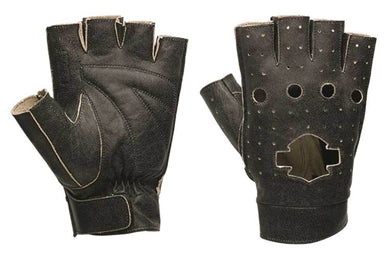 Harley-Davidson emery perf leather fingerless gloves men's black
