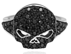 Harley-Davidson black bling ladies skull ring