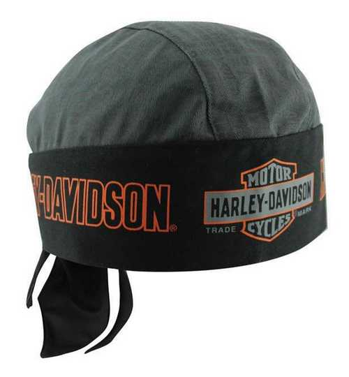 Harley-Davidson headwrap, nostalgic bar & shield gray & black
