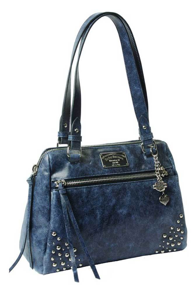 Harley-Davidson midnight blue leather satchel