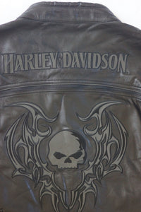 Harley-Davidson reflective skull leather jacket men's black