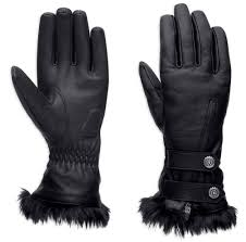 Harley-Davidson slate gauntlet gloves women's black
