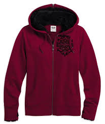 Harley-Davidson sweater-hoodie, flocked, red women's cabernet