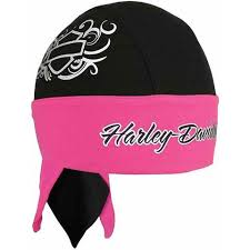 Harley-Davidson headwrap blank bar & shield ladies Black & pink