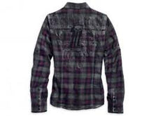 Harley-Davidson plaid shirt with overspray women's pink