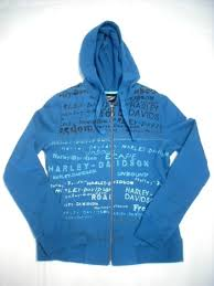 Harley-Davidson hoodie with printed phrases women's seaport blue