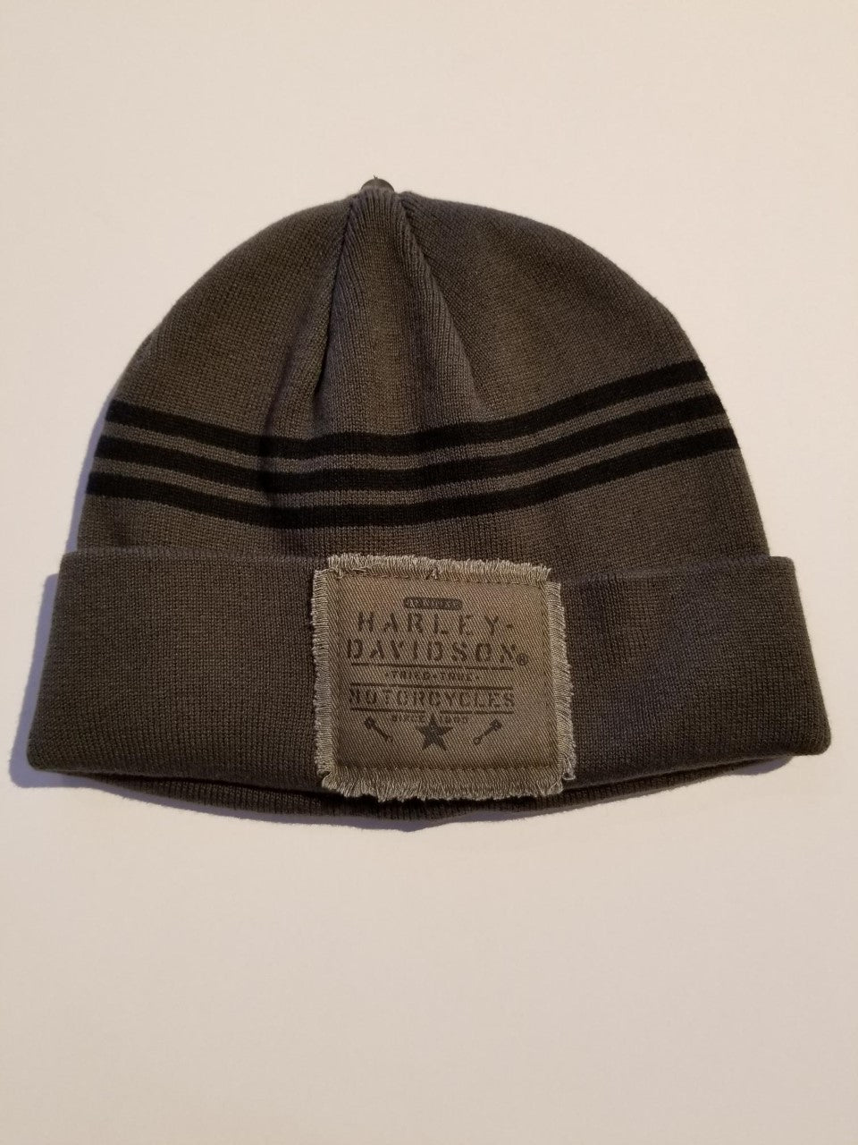 Harley-Davidson patch cuffed knit hat men's classic olive