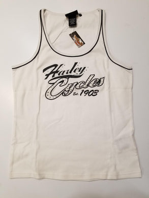 Harley-Davdison sleeveless tank with piping women's white