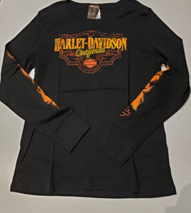 Harley-Davidson original flame ladies L/S black