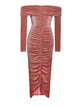 Keke Salmon Ruched Velvet Maxi Dress